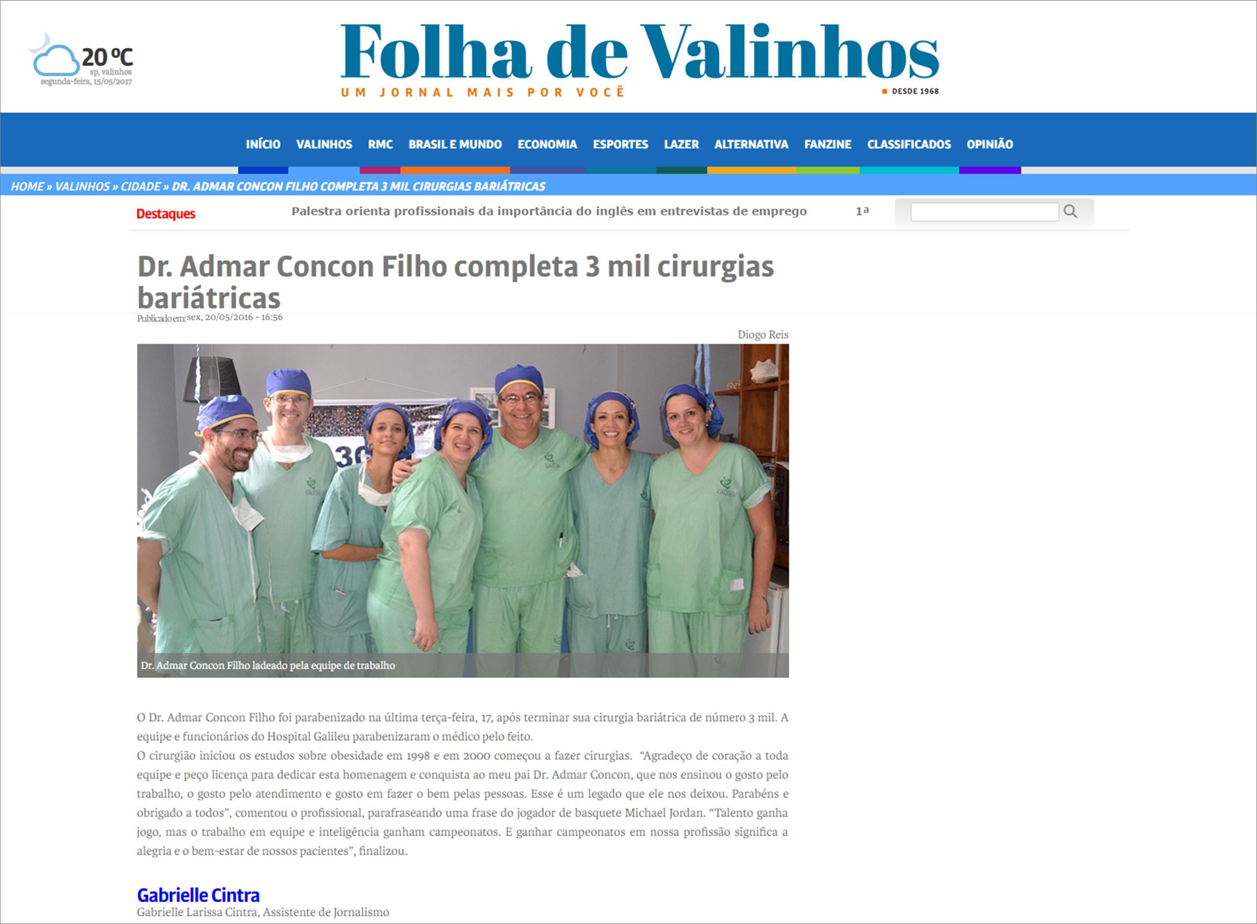 Dr. Admar Concon Filho completa 3 mil cirurgias bariátricas